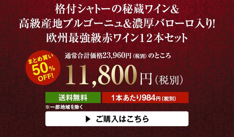 【50%OFF】格付シャトーの秘蔵ワイン&高級産地ブルゴーニュ&濃厚バローロ入り!欧州最強級赤12本セット