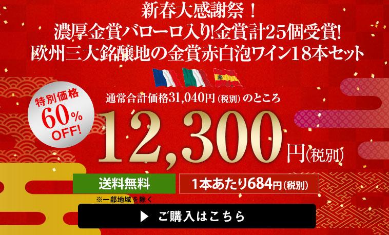 【60%OFF】新春大感謝祭!金賞バローロ入り!金賞計25個受賞!欧州三大銘醸地の金賞赤白泡18本セット