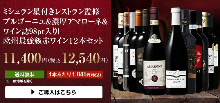 【51%OFF】ミシュラン星付きレストラン監修ブルゴーニュ&アマローネ入り!欧州最強級赤ワイン12本セット