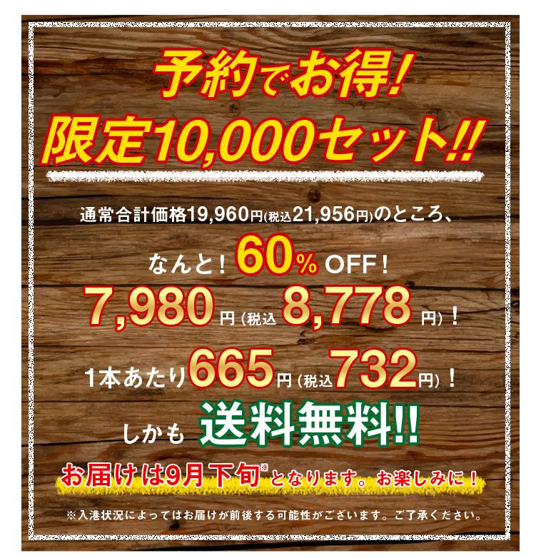予約でお得!限定10,000セット!!通常合計価格19,960円(税込21,956圓)のところ、なんと!60%OFF!7,980円(税込 8,778円)!1本あたり665円(税込732円)!しかも送料無料!!お届けは9月下旬※となります。お楽しみに!※入港状況によってはお届けが前後する可能性がございます。ご了承ください。