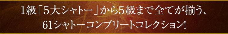 1級「5大シャトー」から5級まで全てが揃う、 61シャトーコンプリートコレクション!
