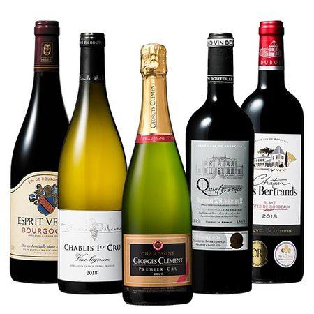 【46%OFF】年末限定プルミエ・クリュシャンパン&シャブリ入りフランス銘醸地赤白スパークリング5本