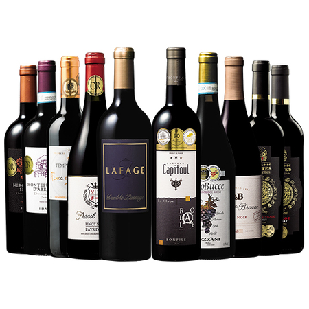 アメリカ・欧州3大銘醸国より厳選!金賞多数・高評価赤ワイン10本セット